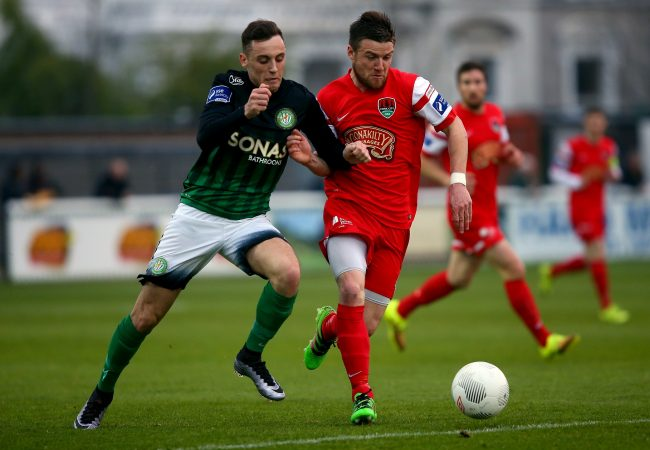 SSE Airtricity League Premier Division, Carlisle Grounds, Bray 7/5/2016 Bray Wanderers vs Cork City Bray's Dylan Connolly with Steven Beattie of Cork City Mandatory Credit©INPHO/Tommy Dickson