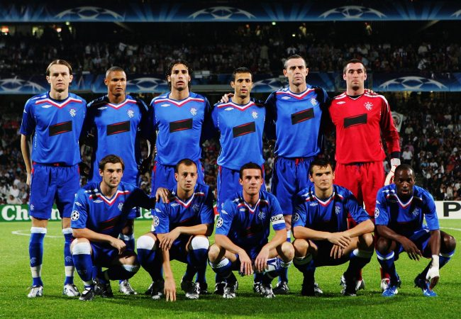 LYON, FRANCE - OCTOBER 02: The Rangers team line up prior to the UEFA Champions League match between Lyon and Glasgow Rangers at Gerland Stadium October 2, 2007 in Lyon, France. (Photo by Dean Mouhtaropoulos/Getty Images)