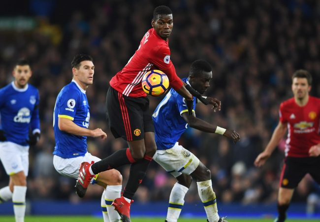 LIVERPOOL, ENGLAND - DECEMBER 04: Paul Pogba of Manchester United and Idrissa Gueye of Everton battle for the ball during the Premier League match between Everton and Manchester United at Goodison Park on December 4, 2016 in Liverpool, England. (Photo by Laurence Griffiths/Getty Images)