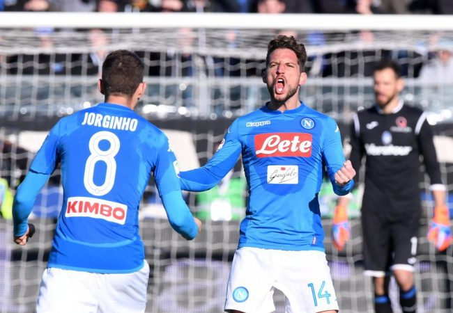 Soccer Football - Serie A - Atalanta vs Napoli - Stadio Atleti Azzurri, Bergamo, Italy - January 21, 2018 Napoli's Jorginho and Dries Mertens celebrate after the match REUTERS/Alberto Lingria